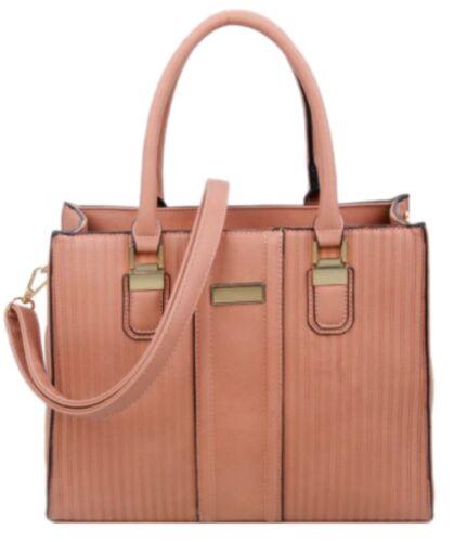 Plain Design Embossed Stripes Faux Leather Handbag Womens Shoulder Bag Office