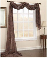one scarf 1 cheeta print  Sheer Voile Window Panel  Brand New curtains VALANCE