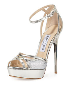 2453fbd532fb Image is loading JIMMY-CHOO-LAURITA-MIRROR-SILVER-METALLIC-LEATHER-FINE-