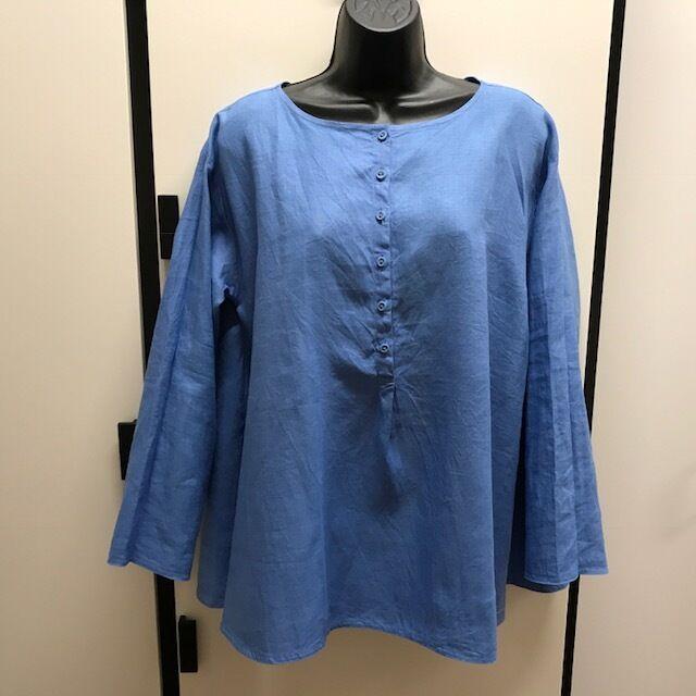Veritecoeur Japan OS Linen BlauBell Ballet Neck Long Sleeve A Line Blouse Top
