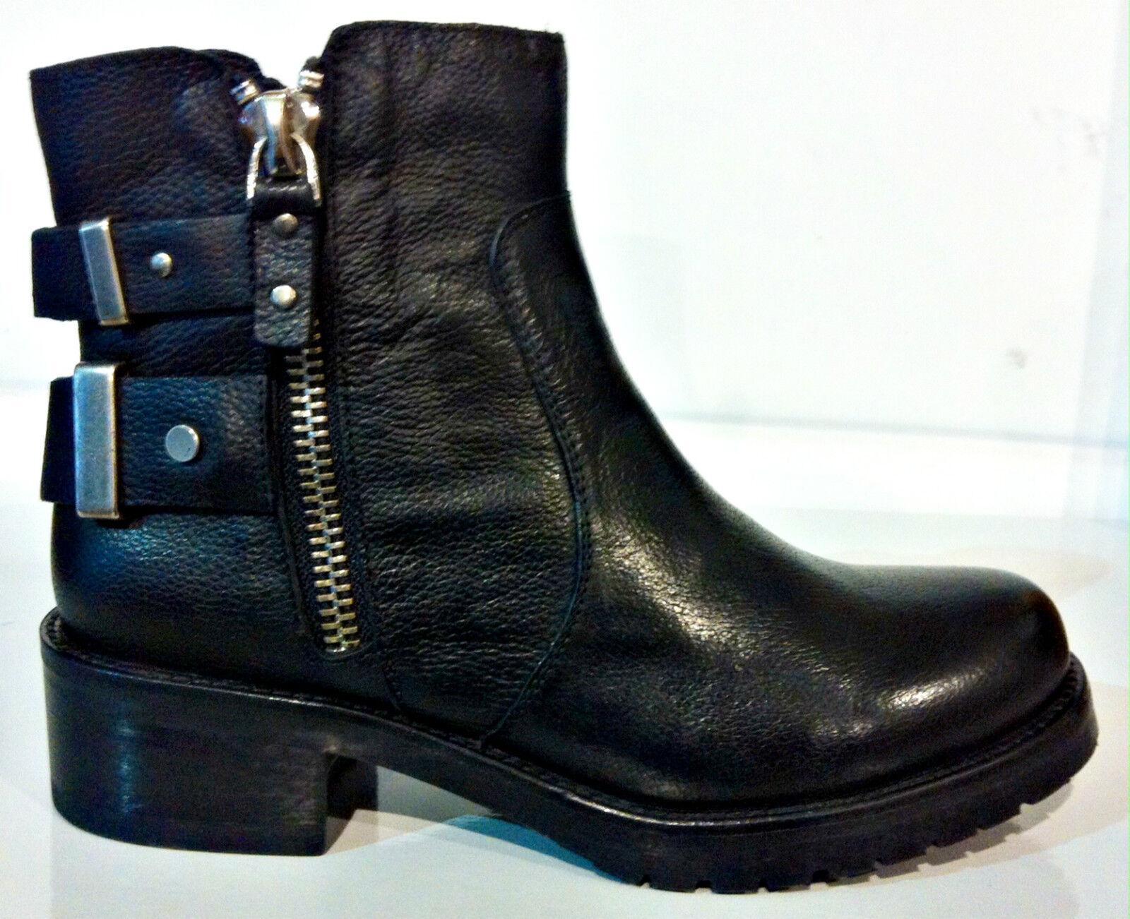vivien lee 5811C schwarz Stiefel niedrig Damenschuhe Leder Bbsatz Keilabsätze
