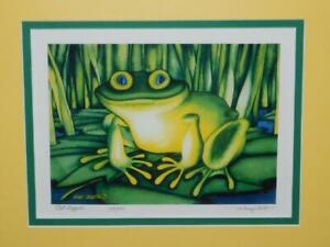 Mary Croxton Pod Hopper Frog Art Print Signed Numbered Green Yellow Mat Alaska