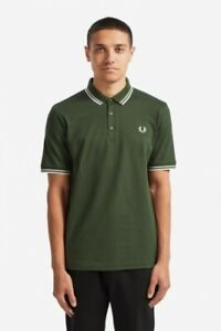 Fred-Perry-Made-In-Japan-Polo-Shirt-M102-Twin-Tipped-Leaf-Dark-Fern-Green-White