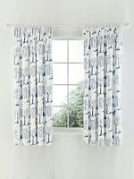 Sanderson Home Willow Tree Lined Curtains, Sateen, Blue