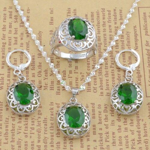 925 Argent Vert Cristal Zircon Collier Chaîne Boucles d/'oreilles Anneau Parti Jewelry Set