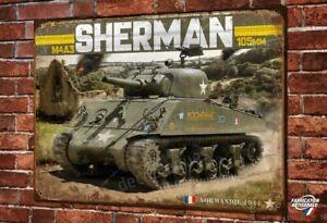 Plaque-metal-deco-40x30cm-Tank-Sherman-WW2-seconde-guerre-mondiale-2e-DB-leclerc