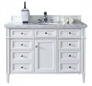 48 James Martin Brittany White Single Bathroom Vanity White Carrera