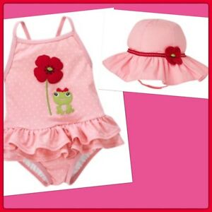 Nwt 3-6 Gymboree Poppy Friends 2pc Swim Set Pink Ruffled Swimsuit Bow & Sun Hat Traveling Clothing, Shoes & Accessories