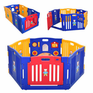 42f481135 New Baby Safety Activity Center Playpen Kids 6 Panel Safety Play ...