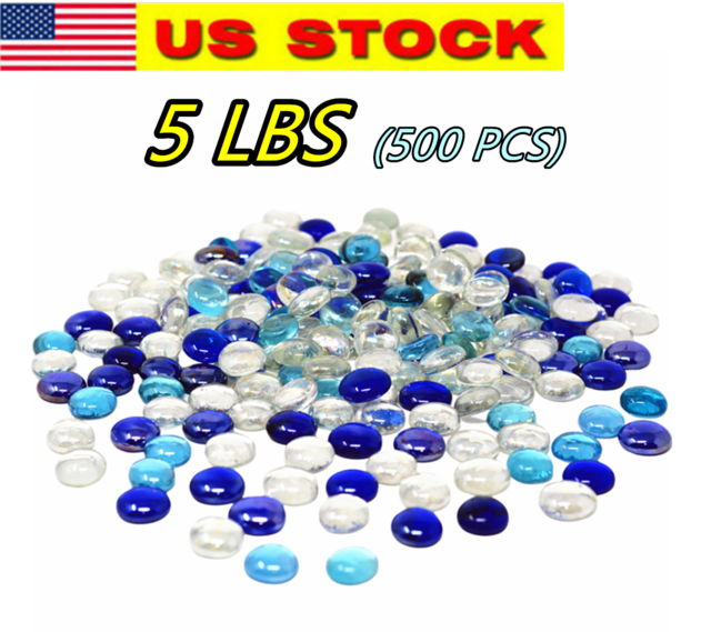 5 LBS PERIWINKLE MIX FLAT GLASS MARBLES GEMS VASE FILLERS MOSAIC TILES $19.99