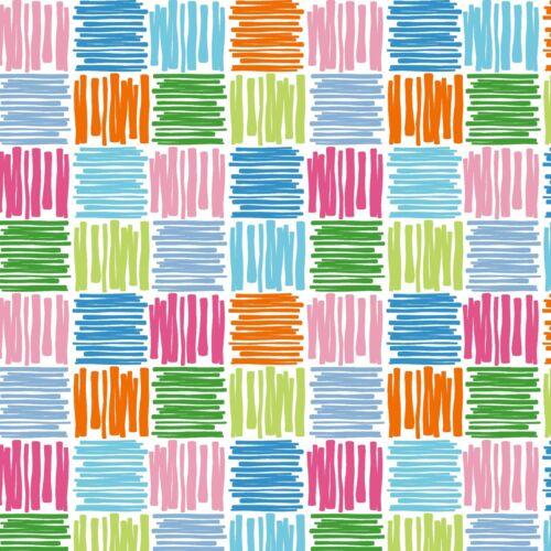 PVC Table Nappe Scribble Carrés Multicolore Rose Orange Vert Bleu Nouveauté Essuyer Capable