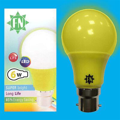 8x 6W LED Green Coloured GLS A60 Light Bulb Lamp BC B22 Low Energy 110-265V