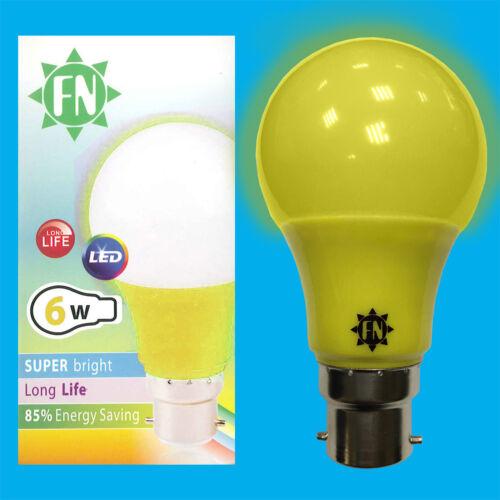 4x 6W LED Yellow Coloured GLS A60 Light Bulb Lamp BC B22 Low Energy 110-265V