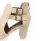 thumbnail 8 - Womens Ladies Beige Faux Leather High Heel Peep Toe Sandals Shoes Size UK 7 New