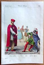 GRAVURE COULEUR 1834 DELAUNOIS COSTUMES AVANT CLOVIS RICHE PLEBÉIEN k909