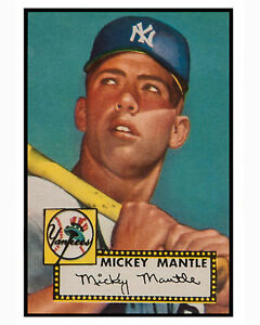 Details About Mickey Mantle 8x10 Color Photo Of Rookie Year 1952 Topps Card