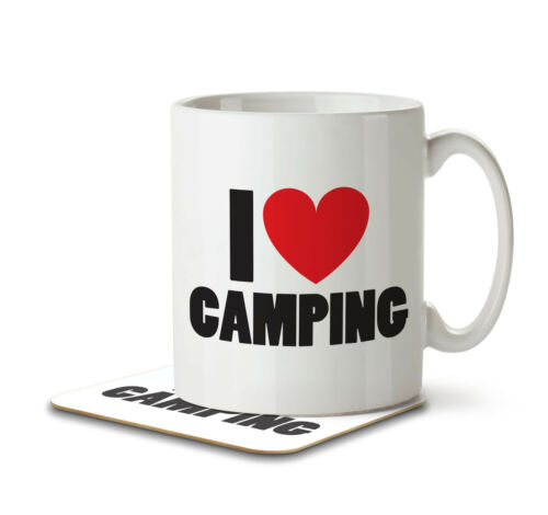 I Love Camping Mug and Coaster by Inky Penguin