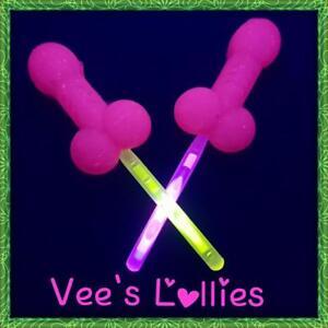Hens-night-penis-lollipops-x10-pink-w-Glow-stick-amp-glow-in-UV-light-candy
