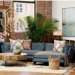 Comfortable Denim Blue Deep Sofa With Chaise Sectional