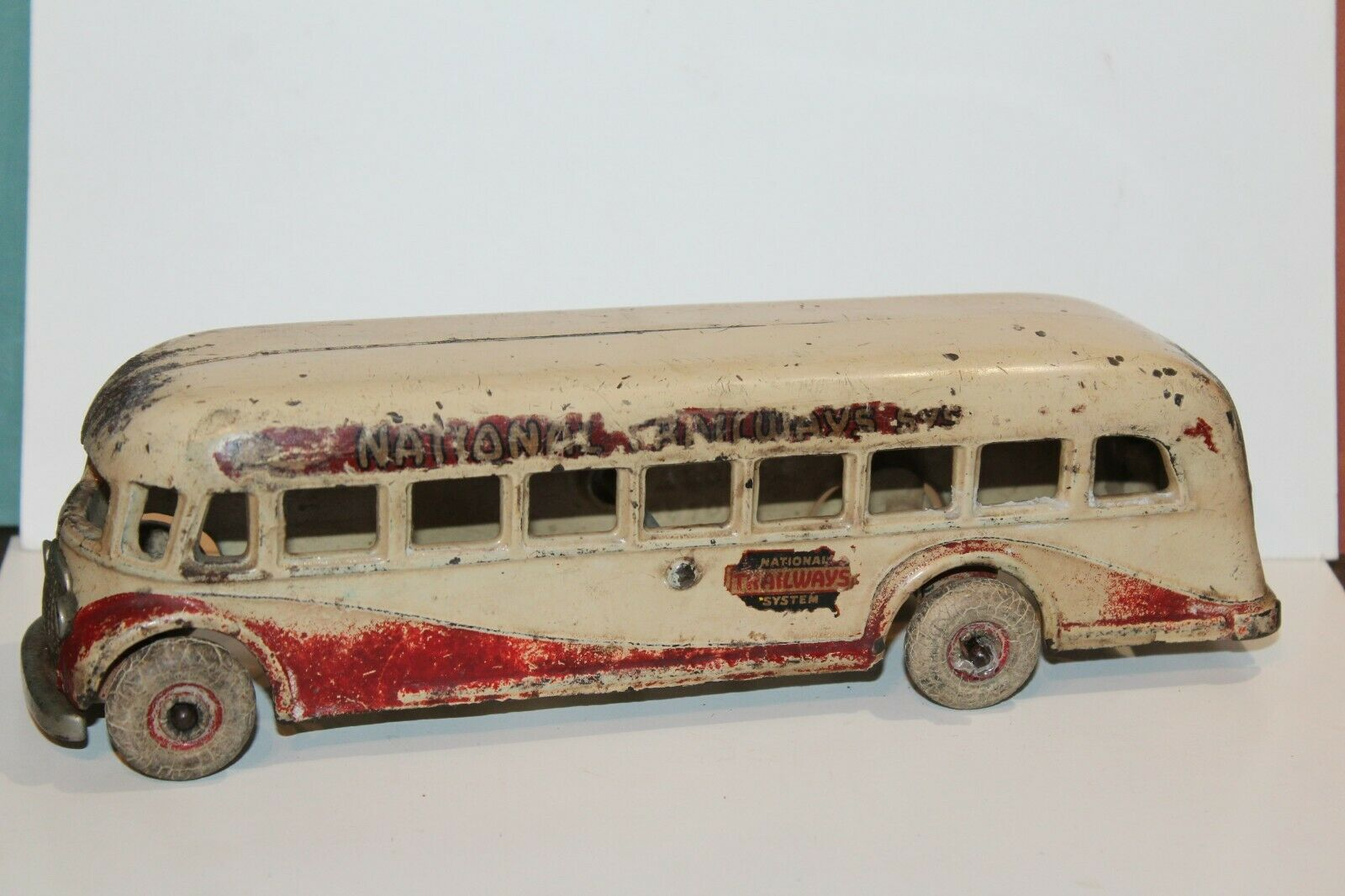 NICE VINTAGE 1930'S ARCADE CAST CAST CAST IRON NATIONAL TRAILWAYS SYSTEM BUS 619dfe