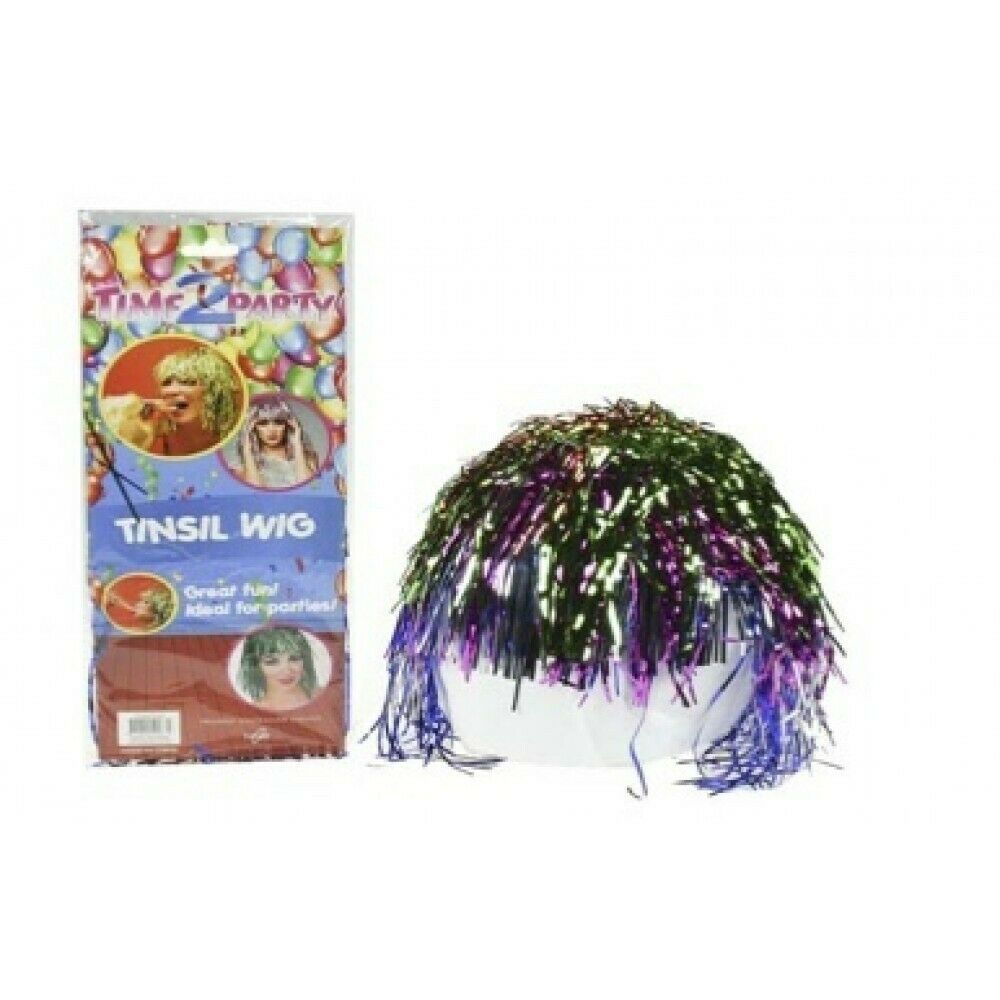 1pce x Dress Up Tinsel Wig. Multi Colour. Hippy/Party and Fancy Dress.