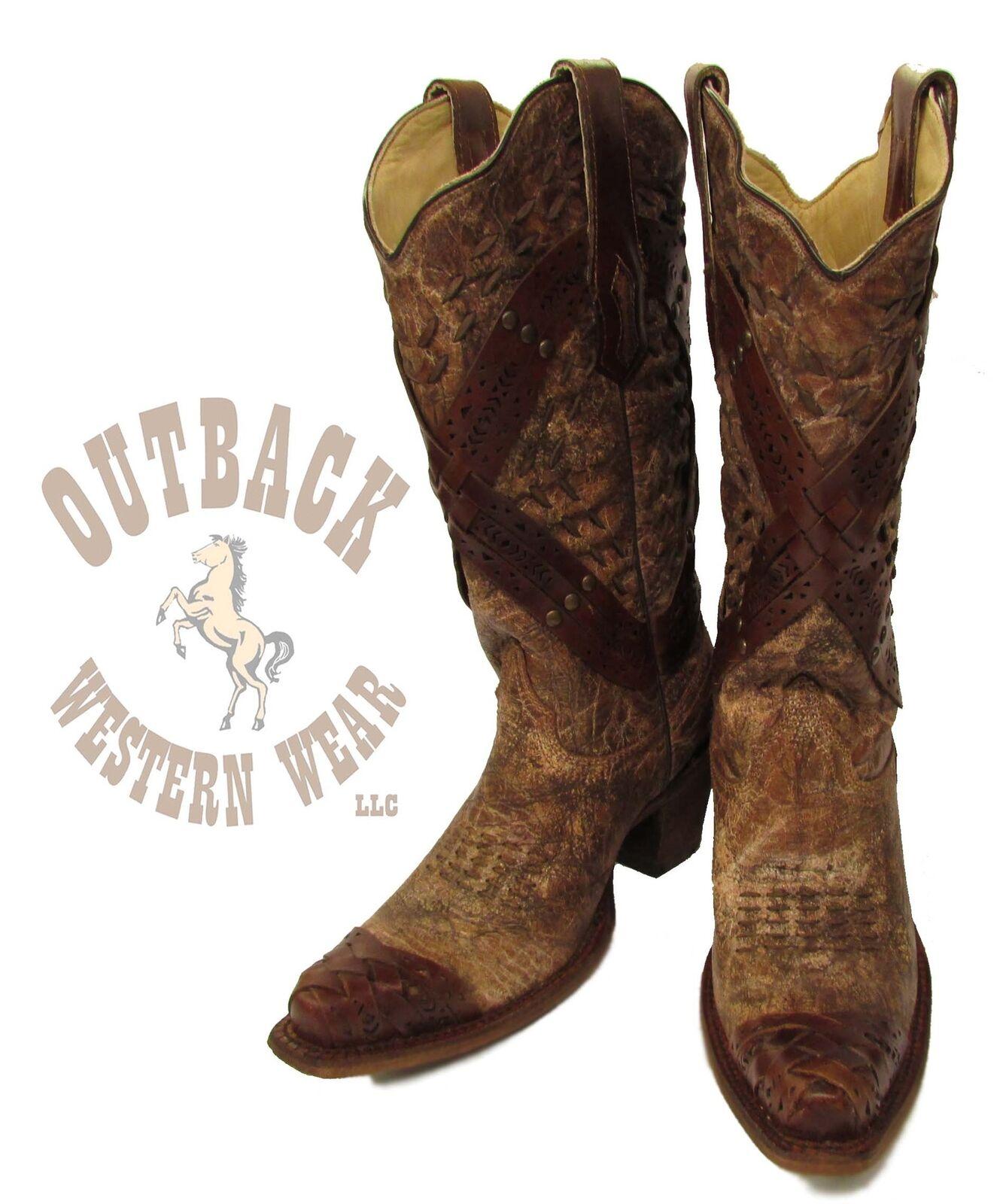 SALE! Corral Women's Cognac Crossed Strap & Studs Snip Toe Boots A2990
