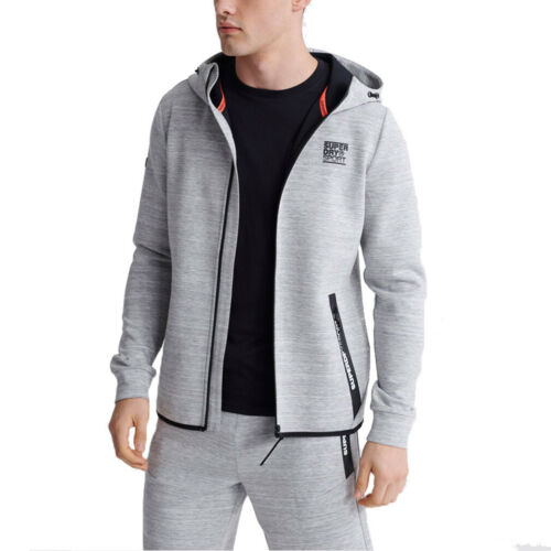 Superdry Herren Gymtech Ziphood Kapuzenjacke MS300023A Grau