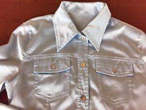best service 03f72 99631 Dettagli su Camicia donna di raso azzurro celeste perlato tg 40/42 maniche  lunghe