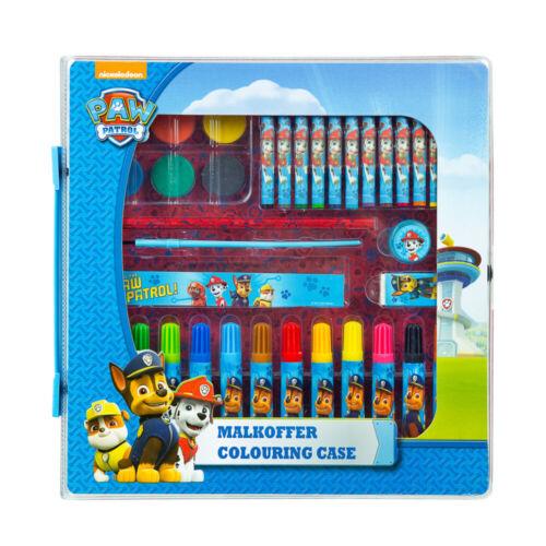 Paw Patrol Malkoffer Wasserfarben Bleistift Spitzer Fasermaler Lineal