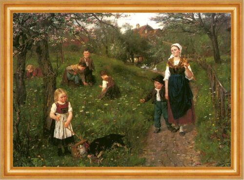 Tempo PRIMAVERA FIORI PRATO CANE Bambini Giochi raccogliere fiori Sperl a3 02 incorniciato