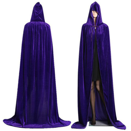 Unisex Men/'s Ladies Velvet Hooded Cape Long Cloak Halloween Costume Dress Coats