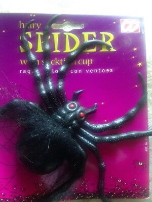 + Ragno Peloso Spider Con Ventosa Halloween Scherzo Carnevale Giada Bianca