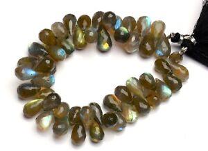 Labradorite Briolette Beads Flashy Blue Fire Gemstone 8x12mm Beads 8 I Labradorite Faceted Pear Bead