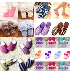 Pantoufles-Femme-Homme-Chaussures-Souples-Chaussons-n-ud-Chaud-Hiver-Maison-Mule