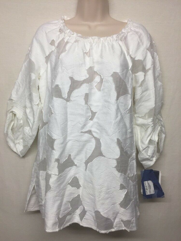 Special Occasion Doncaster Collection 3 4 Sleeve Weiß Scoop Neck Tunic Top 4M