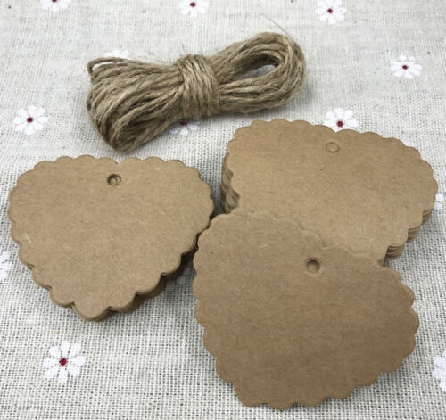 50X  Blank Cards Kraft Paper Tags Wedding Party Label Price Gift Cards