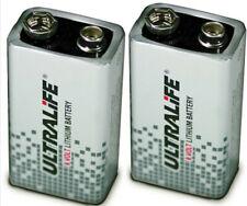 2 x LITHIUM 9V volt BATTERIES ULTRALIFE PP3 MN1604 Smoke alarm *cheapest on