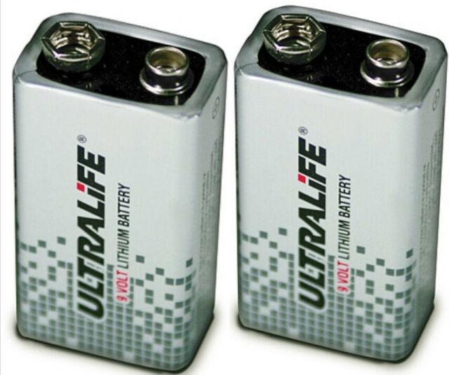 2 x ULTRALIFE 9v PP3 Batería Litio U9VL-J-P bloquear 1200mAh para alarmas de humo