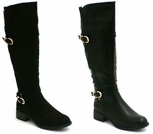 NEW Women Ladies Faux Suede Gold Zip Stretch Knee High Boots in black