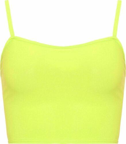 New Womens Plain Strappy Cami Basic Bralet Gym Sports Running Crop Bra Vest Top