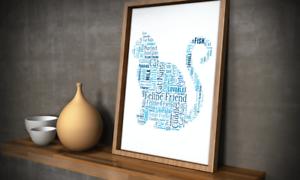 Personnalisé Chat Mot Art Imprimé-Cat Lover Cadeau-Ajouter tous vos propres mots