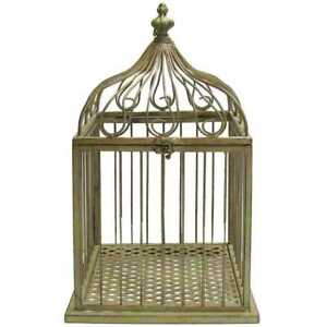 Image Is Loading Vintage Style Green Metal Bird Cage Large Shabby