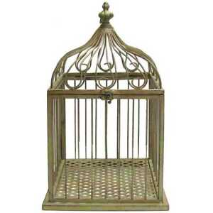 Vintage Style Green Metal Bird Cage Large Shabby Chic Bird Feeder Antique Decor