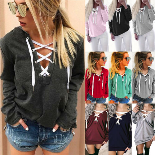 US Womens Lace Up V Neck Casual Pullover Jumper Sweatshirt Hoodie Tops Plus Size