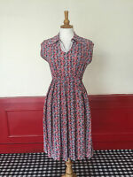 VINTAGE 1950s DRESS ORIGINAL AUTHENTIC BLUE RED FLORAL FULL SWING SKIRT SIZE 8