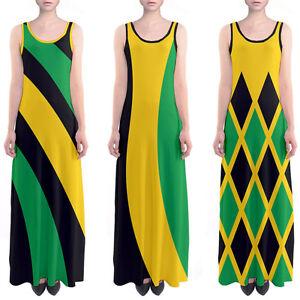 Details about Jamaica Flag Color Theme Jamaican Sleeveless Long Maxi Dress  Size XS - 5XL Plus