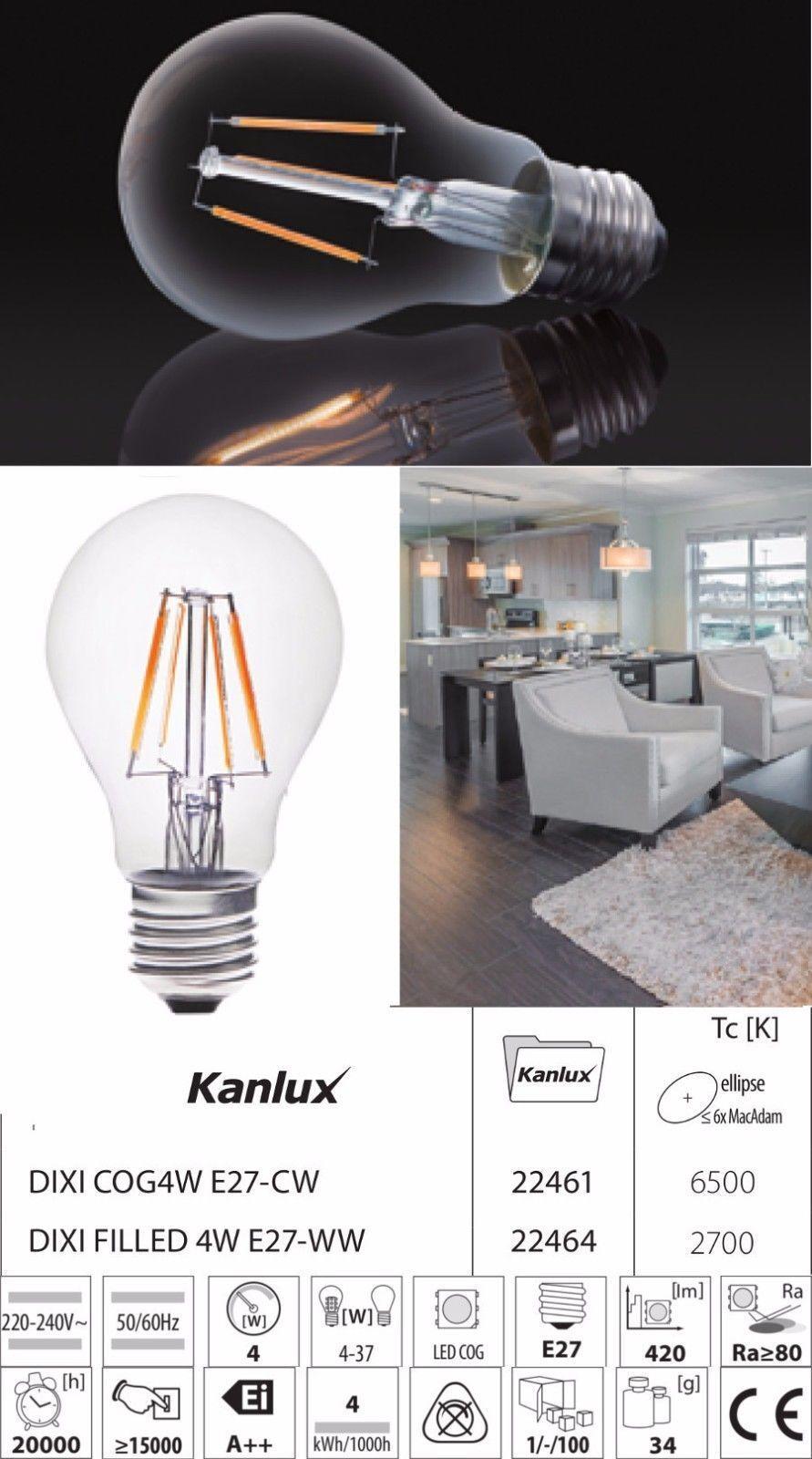 10x kanlux filaHommes ampoule t led 2W/4W bougie/gls ampoule filaHommes lampe lumière 2700K/6500K fd5ef8