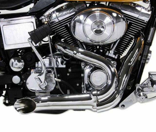 Chrome Wyatt Gatling 2 Into 1 Exhaust Lake Pipe Header Harley Chopper 12mm  O2