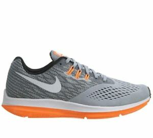 495cc5f2b1b46 Nike Zoom Winflo 4 Mens 898466-002 Wolf Grey Tart Orange Running ...