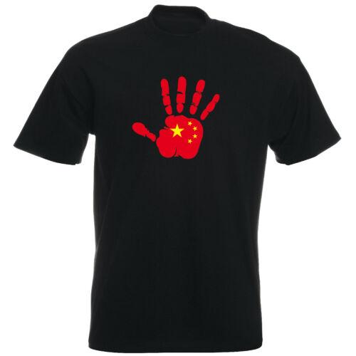 Flagge Flag Chinese China Herren Handabdruck T-Shirt Palm Hand Print
